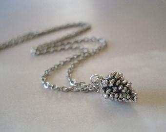 Pine cone Necklace Silver Pinecone Charm Necklace Pendant Pine cone Jewelry Tiny Pinecone Jewelry