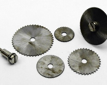 Mini High Speed Steel Saw Blade 5 Piece Set With 2 Mandrels