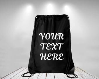 Drawstring Backpack Customize Backpack Personalized Drawstring Backpack Your Text Here Backpack Customize Bookbag Custom Gym bag sports bag