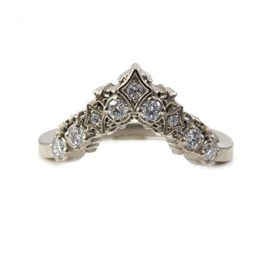 Diamond Stardust Chevron Wedding Band - Bohemain Stacking Wedding Band
