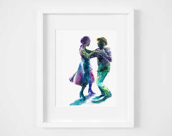 swing dance watercolor illustration art print | dancer, couple, wedding gift, love, romance, art for baby, 1920's, flappers
