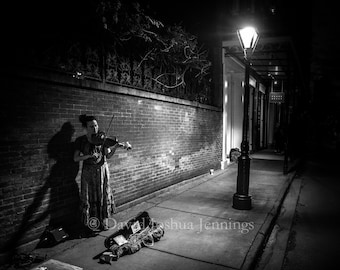 Violinist, Rue Royale - New Orleans 2018 - Fine Art Photograph - Street Photography - Black and White - Fine Art Print - Night - Violin