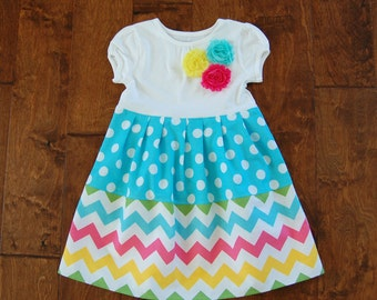 On sale**Rainbow chevron**Easter dress**Pastel colors**Blue aqua polka dots**Toddler girl dress**Spring summer dress, flowers**Zig zag dress