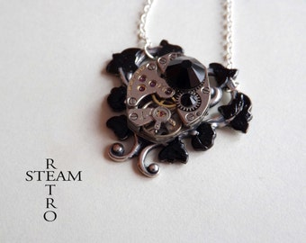 Black Heart Steampunk Necklace - Steampunk Jewelry - Heart Necklace - Steampunk Jewellery  -personalized jewelry -gothic