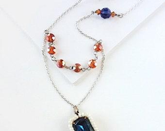 Dido Indigo and Orange Glass Bead Necklace