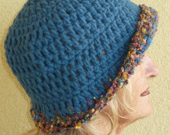 Cute winter hat that is versatile in style, women's original crochet hat in teal blue, unique and comfortable winter hat, gift for her