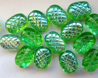 16 Vintage Glass Green and AB Oval Textured Beads
