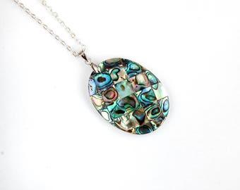 Green abalone shell, natural abalone, large shell pendant, large abalone, large abalone shell, copper shell pendant, blue abalone pendant