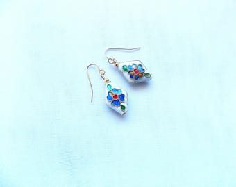 Cloisonné Earrings, Gold Earrings, Bridal Shower, Evening Earrings, Holiday Gift, Anniversary Gift, Birthday Gift