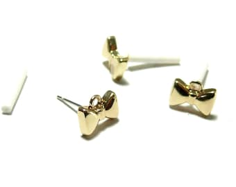 PAX 10 blank earring smart bow tie rings Golden S11103279, you will get 5 pairs