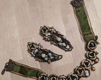 1940's choker and clip on earring set