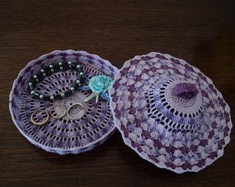 Jewelry box or candy, purple crochet