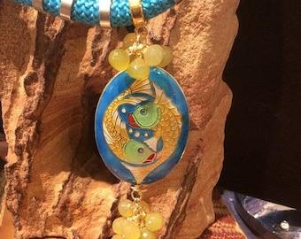 50% Mega Sale Yellow Chalcedony Onion Briolette & Cloisonné Fish Pendant Necklace