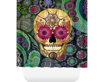Colorful Sugar Skull Shower Curtain - Paisley Skull Bath Curtain - Dia De Los Muertos Bathroom Decor - Sugar Skull Paisley Garden