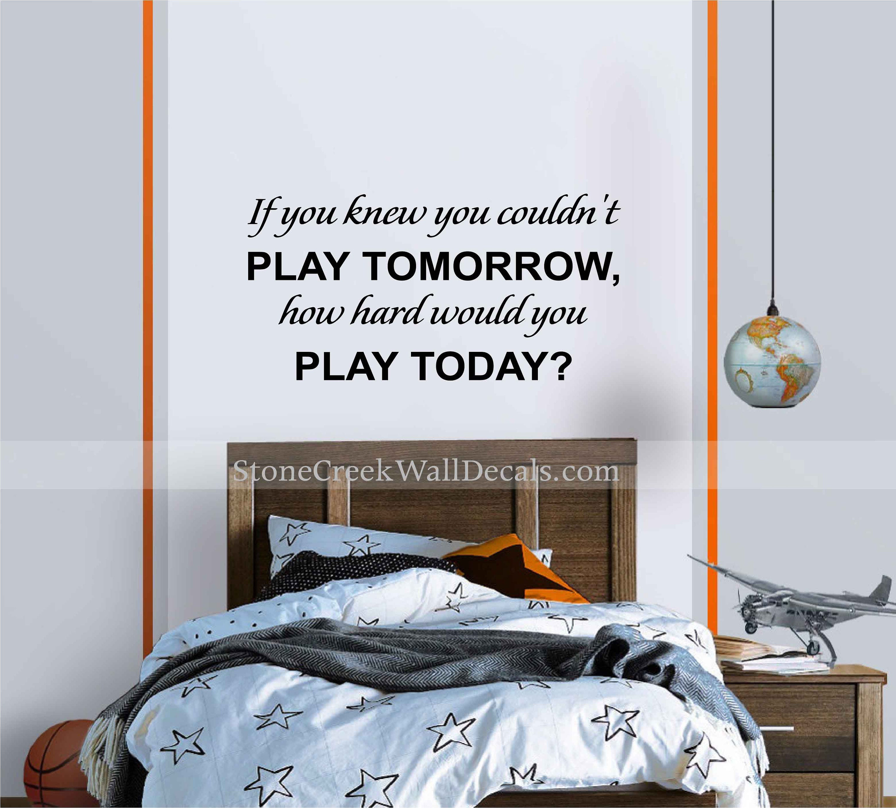 Football Wall Decal Sports Wall Decal Football Wall Decor Sports Room Decor  Boy Wall Decal How Hard Would You Play Today Wall Decal