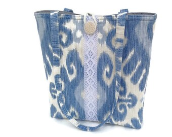 Blue handbag, Fabric tote bag, Ikat print tote, Lace purse, Shoulder bags women, Every day bag, Casual tote, Quilted handbag, Vegan bag