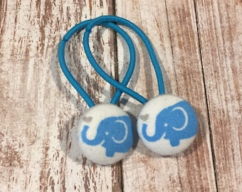 "7/8"" Size 36 Cyan Blue/White/Grey Elephant with Heart Fabric Covered Button Hair Tie / Ponytail Holder / Party Favor (Set of 2)"