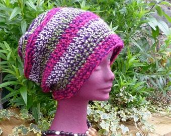 Stripe Crochet Dread Tam, Saggy Baggy Beanie Hat