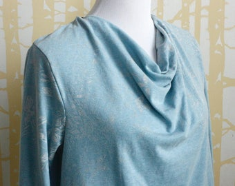 Carnival Cowl Tee, choose your size and color in NEW hand printed eco-friendly jersey accented with hand dyed silk