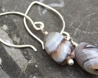 Sterling Silver Small Hoop Ear Wires with Botswana Agate Earrings
