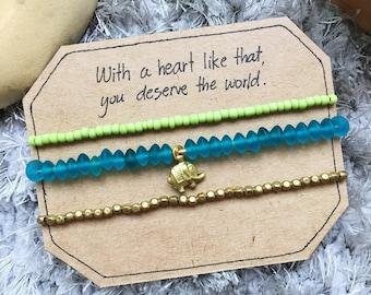 Elephant Beaded Bracelet, Beaded bracelet, Yoga bracelet, Beach bracelet, Charm bracelet, Boho bracelet, Friendship bracelet, Beach jewelry