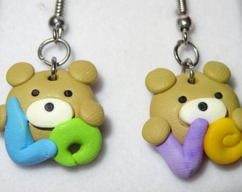 Polymer Clay Earrings Love Bear Multicolor with Letters Drop Hook
