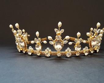 Bridal tiara Wedding gold crown Wedding tiara Bridal headband Pearl wedding headband Freshwater Pearl crown Crystal tiara Bridal crown