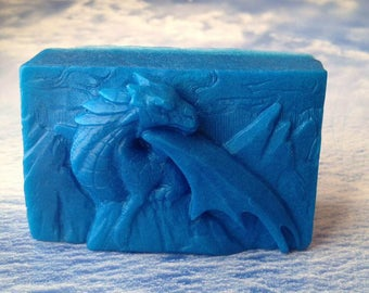 Dragon Soap, Dragon on Mountain, Bath Soap, Gift Soap, Novelty Soap, You pick scent & color
