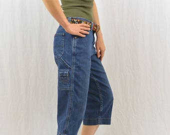 Vintage Cropped Carpenter Jeans, Painter Pants, Size XS-Small, Grunge, 90's Clothing, Workwear, Tumblr Clothing, Denim Capris, Lee Jeans