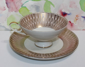 Vintage, Alka Kunst, Pale Pink and Gold Tea Cup and Saucer Bavaria Switzerland