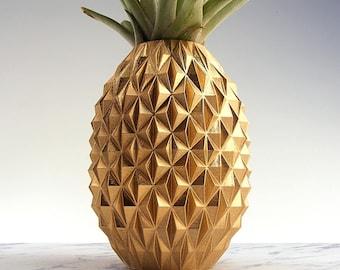 Gold Pineapple Planter Pineapple Gifts Tropical Decor Pineapple Pot Pineapple Air Planter Pot Pineapple 3d Print Golden Decor Gold Pot