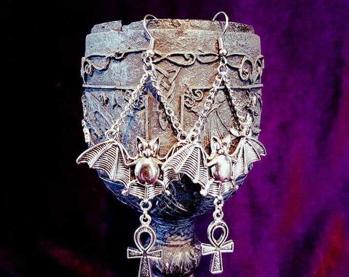 Flying Bat Ankh Earrings - goth gothic vampire vampyre ankh earring