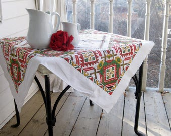 Small Retro  Linen Vintage Table Linen, Small Tablecloth with Flair, Small Tablecloth, by mailordervintage on etsy