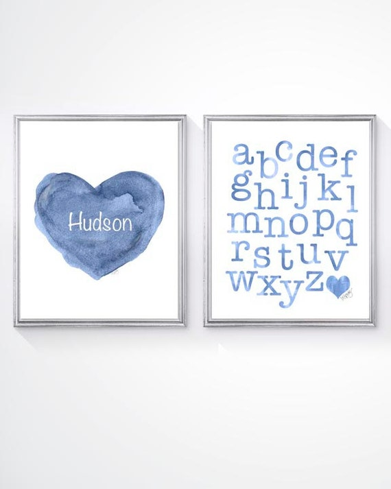 Boys Toddler Room Decor; Set of 2 - Blue 8x10 Prints with ABC and Custom Name