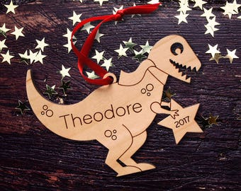 Wooden T-Rex Dinosaur Ornament: Personalized Name, Boy or Girl, Baby's First Christmas 2018, Kids Animal Ornament
