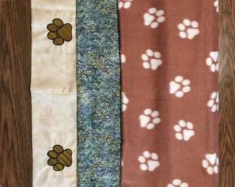 Pet Blanket - Reversible Camo/Paw Handmade Machine Embroidered Blanket - Large -New
