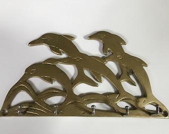 Vintage Swimming Dolphins Brass 6 Hook Wall Key Holder,  Nautical Beach Ocean Decor