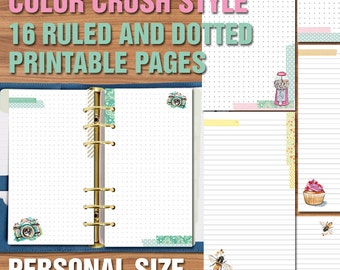 Color crush style inserts ruled and dotted pages for personal size planner Printable bullet journal notes pages
