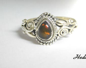 Handmade Sterling Silver Natural Black Opal Ring ( Size 8.5 )