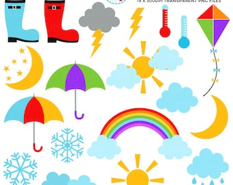 Weather Clipart Set - clip art set of sun, clouds, rain, umbrella, snow, lightning - personal use, small commercial use, instant download