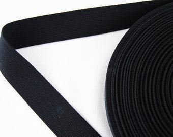 Carrying strap - belt - tape - binding tape - cotton - black