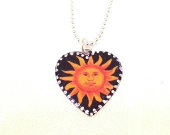 Smiling Sun Heart Pendant. Lovingly Handmade in Brooklyn by Wishing Well Studio.