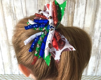 Football Curly Bow: Choose Team Colors