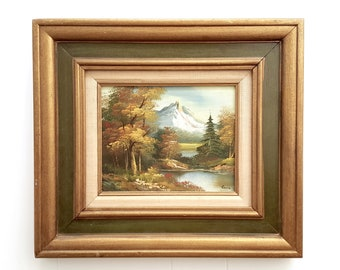 Original oil painting of a Mountain Scene Landscape Signed by artist