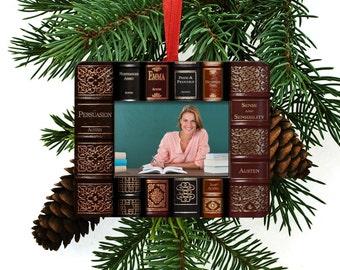 Jane Austen Novels Books Christmas Tree Ornament / Picture Frame