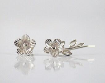 Silver Ear climber  + Stud ,   Flower earrings , Flower Ear Cuff , Stud earrings , Graduation gift , gift for her