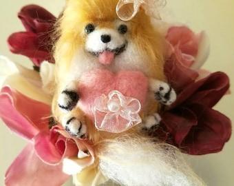 Needle Felted Valentine Pomeranian