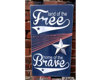 Land of the Free Home of the Brave. Unique Americana Wooden Sign, 4th of July Summer Mantle Plaque, Seasonal Porch Decor, Memorial Day, USA