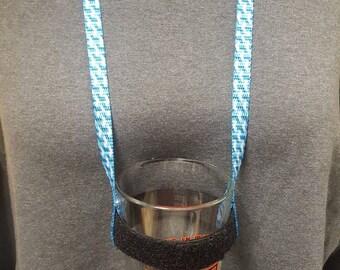 Adjustable hands free drinking lanyards - blue geo