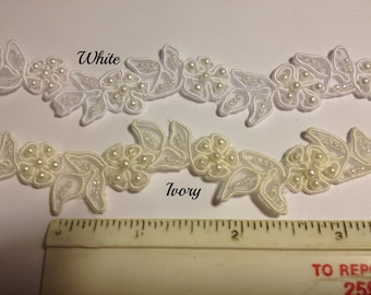 Beaded floral trim  for bridal, apparel or crafts and home dec in white, ivory and several colors